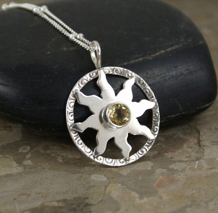 Hemelse Sun Citrien Gem Sterling zilveren hanger door Kimsgemz