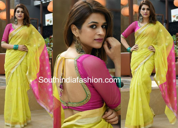 shraddha das yellow saree garudavega promotions photo