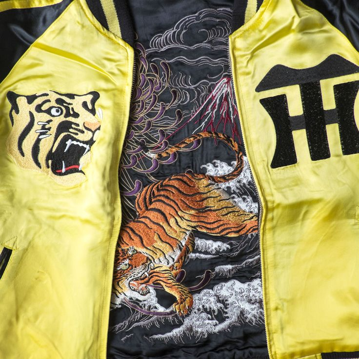 Japanese Wagara Vintage Yellow OSAKA Hanshin Tigers Tora Mt. Fuji Fujisan Sukajan Skajan Tattoo Art Design Embroidered Embroidery Bomber Jacket ( SIZE S ) - Japan Lover Me Store