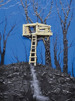 Kim Dorland  Tree House, 2010  oil, acrylic, wood, nails and glitter on wood panel   244 x 183 cm