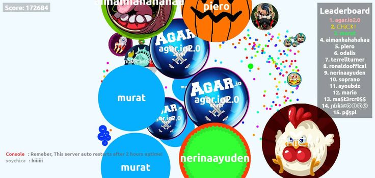 agar.io2.0 nick name agario game score play agarabi.com together! - Player: agar.io2.0 / Score: 1726840 - agar.io2.0 saved mass agar.io2.0 This score is made in a public server and the Agar.io mod is used to monitor the mass of