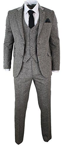 Mens 3 Piece Herringbone Tweed Suit Velvet Collar Mens 3 Piece Herringbone Tweed Suit Velvet Collar Complete With Blazer, Waistcoat & Trouser Tweed Fabric With a Soft Velvet Shawl Collar, Matching Elbow Patch (Mustache Brooch Included!)