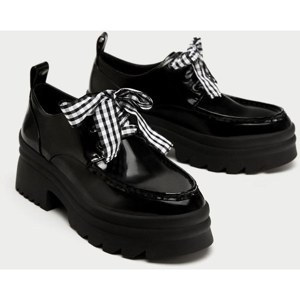 EMBELLISHED LACE - UP DERBY SHOES-SHOES-TRF | ZARA United States (€41) via Polyvore featuring shoes, oxfords, laced up shoes, laced shoes, lace up shoes, lace up oxfords and embellished shoes