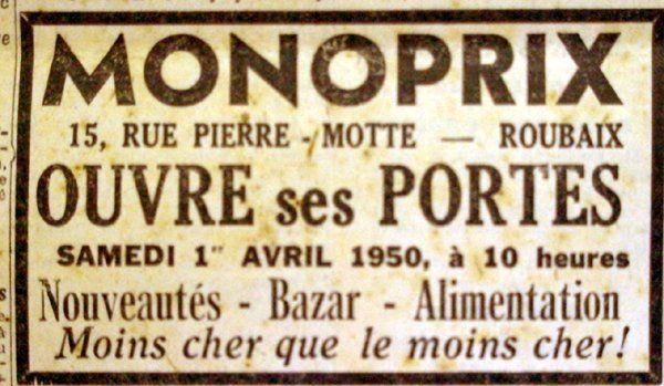 Roubaix //l'ouverture de Monoprix en 1950 Pub NE