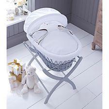 izziwotnot Grey Wicker Moses Basket with White bedding