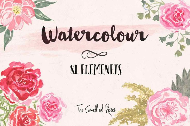 Free Flower Clip Art. A set of 81 super-useful hand drawn watercolor flower brushes/PNG images. It took me ages to draw these brushes so hope you like them!