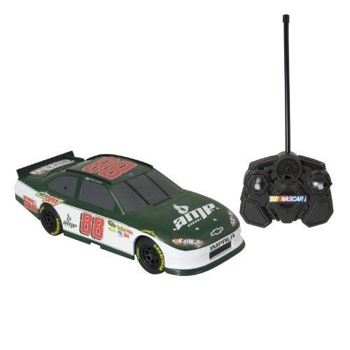 NASCAR Radio Control 1:24th Replica Dale Jr. (Amp Energy) 27Mhz Ch A by NASCAR. $26.09. Full function Indoor/Outdoor R/C. Race-inspired R/C replica. Includes 1:24th Full Function R/C, Remote Control and Instruction Sheet. Dale Earnhardt Jr. (Amp / Guard), Tony Stewart (Office Depot), Jimmy Johnson (Lowes). 30' range. From the Manufacturer                Experience the thrill of NASCAR as you step behind the wheel of a full function 1:24th R/C stockcar. Each car fe...