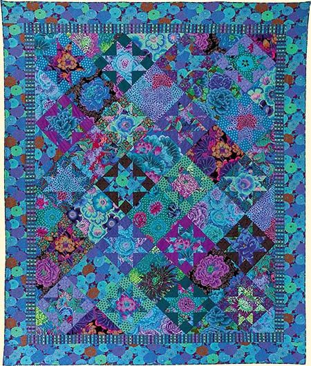 BLUE OHIO STAR Quilt Fabric Pack from Bold Blooms Book  by  Kaffe Fassett