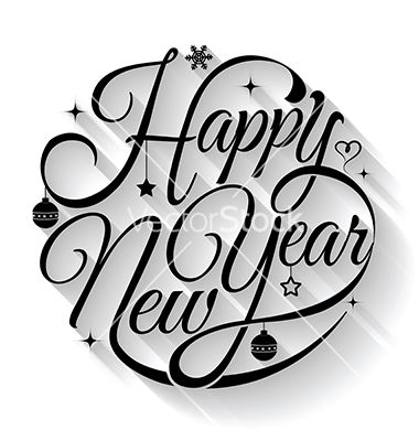 Happy new year typography. Text circle vector by sombatkapan on VectorStock®
