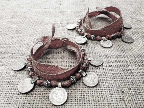 Matching Boho Gypsy Coin Anklets / Bracelets w Earthy Tribal Silk and Kuchi…