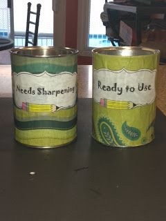 """Great way to deal with pencils.  I never have to worry about students spending time at the pencil sharpener.  They take a """"ready to use"""" pencil and deposit theirs into the """"needs sharpening"""" container.  I then sharpen pencils at lunch time!!!"""
