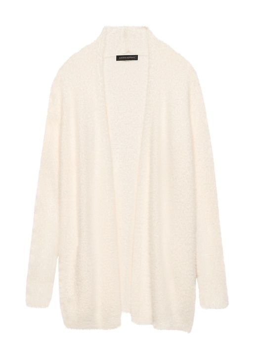 ac1ae9a2db Banana Republic Womens Fuzzy Long Cardigan Sweater Ivory White