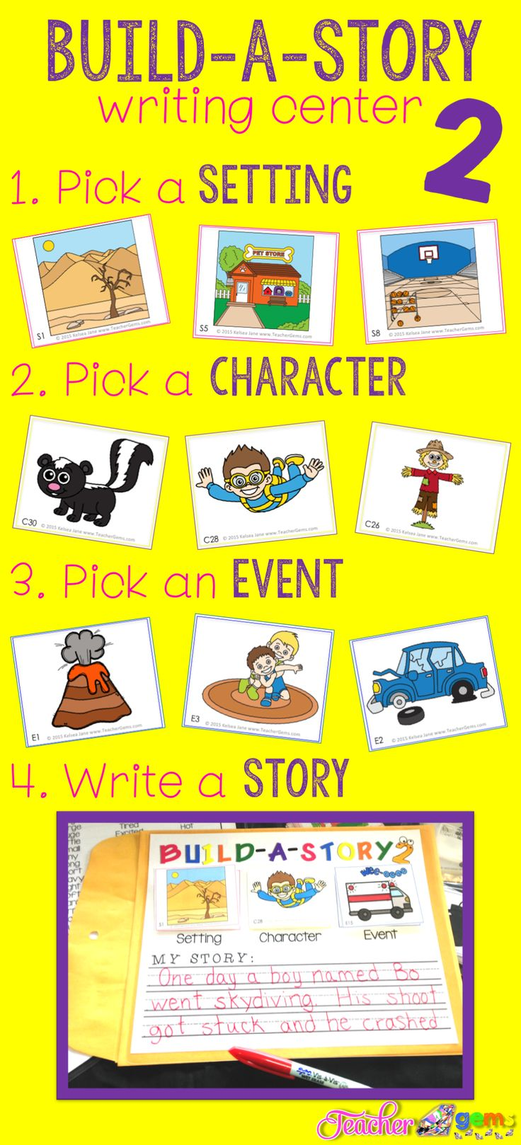 "Build a Story 2 with all new pictures is now available! With 27,000 possible story combinations, you will never hear, ""I don't know what to write about"" again! #TeacherGems"