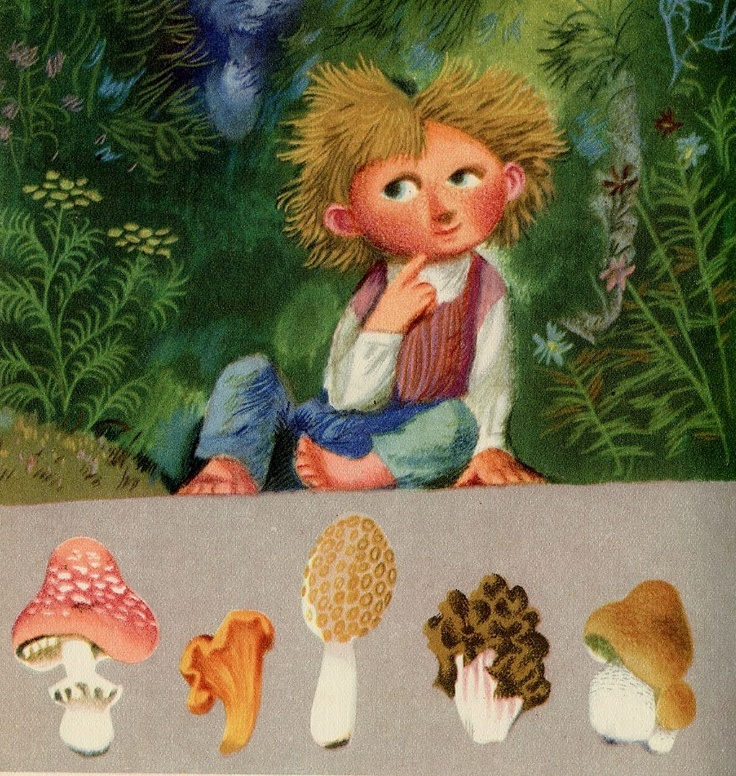 I Found Five Fungi    illustration by Jiri Trnka from Zlaty Vek (Golden Age) written by Vitezslav Nezval (1957)