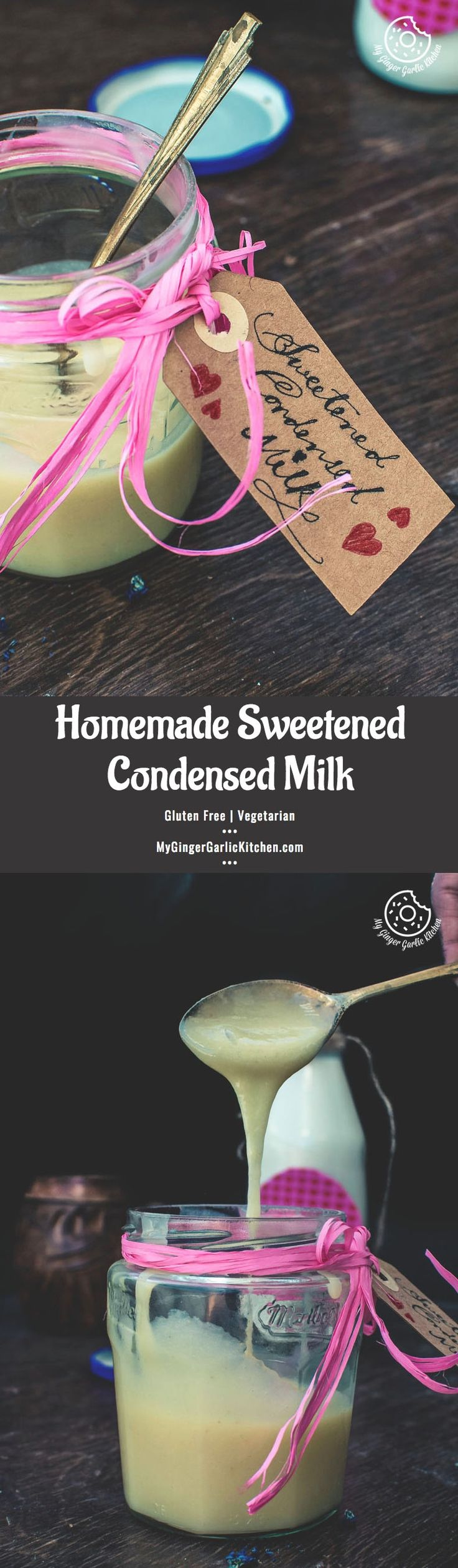 This Homemade Sweetened Condensed Milk recipe makes a delightful, creamy and smooth condensed milk— just the same which you get ready-made from the store. The good thing is that this version is made from scratch and it requires only 3 ingredients. Yes, you can make your own sweetened condensed milk which can be used in your cakes, desserts, ice creams, coffee, and more! From: mygingergarlickitchen.com #Dessert #Glutenfree #Vegetarian #Baking #Milk #Sugar