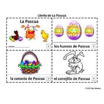 Easter Booklets in Spanish - Librito de la Pascua en Espanol- Students first cut, assemble and read the booklet that contains text and illustrations of common Easter vocabulary. They then sketch and create their own version using the text only template.