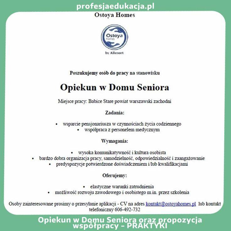 Zapraszamy do zapoznania się z naszą ofertą pracy :) Przyjdź do nas! Czekamy! http://www.profesjaedukacja.pl/ #OpiekunwDomuSeniora #ProfesjaEdukacja #praca