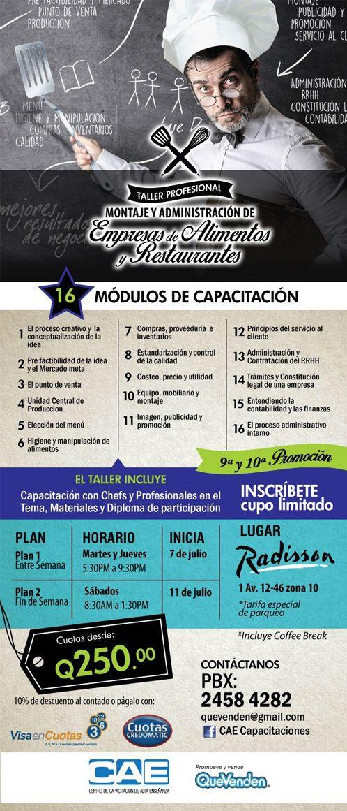Taller Profesional de Montaje y Administración de Empresas de Alimentos y Restaurantes Capacitación con Chefs y Profesionales en el Tema, Materiales y Diploma de participación Inscríbete Cupo Limitado   Con 16 Módulos de Capacitación   Cuotas desde Q250 CAE Capacitaciones Guatemala Para mayor información: PBX (502) 2458-4282