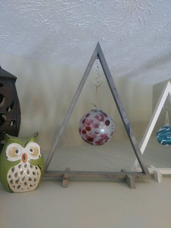 Rustic Wood Triangle Size Large with Gray Stain