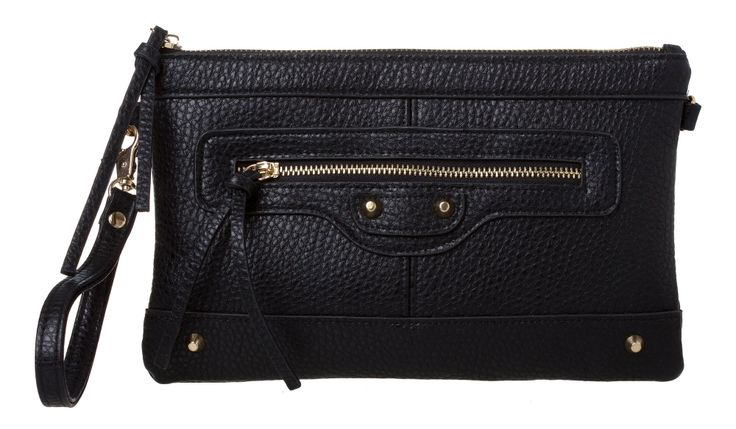 Everyday Clutch Purse Black A take everywhere clutch purse with the versatility of having both a wristlet and detachable shoulder strap. Handy internal pockets and stud and stitching detail to add extra interest!