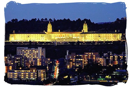Union Buildings viewed at night from the University of South Africa's main campus in Mucleneuck Pretoria, South Africa