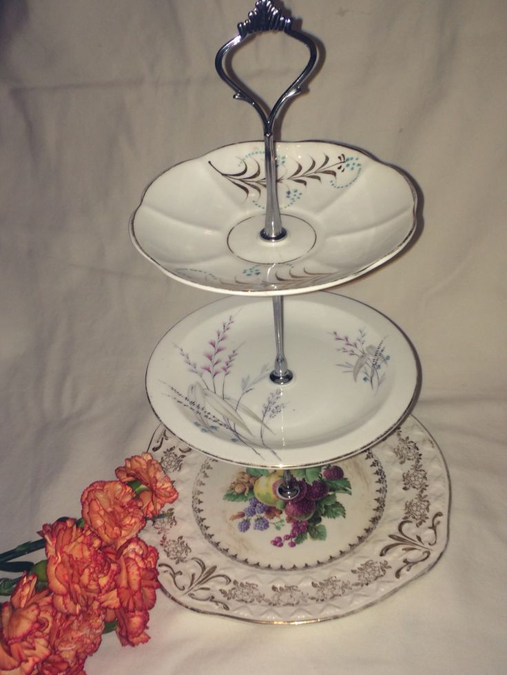 Three tier vintage cake stand CooCooDoLove on eBay Etsy Pinterest u0026 Instagram & 8 best Vintage plate three tier cake stand wedding centrepiece party ...