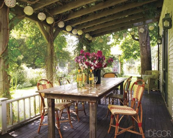 : Dining Rooms, Farms House, Woods Tables, Chairs, Patio, Back Porches, Elle Decoration, Outdoor Spaces, Front Porches