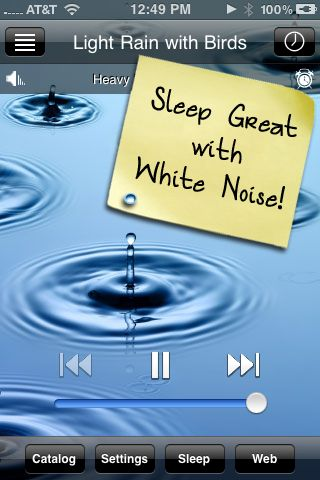 I discovered the incredibly basic White Noise App ($2) when we took our then 9-week-old on his first trip.