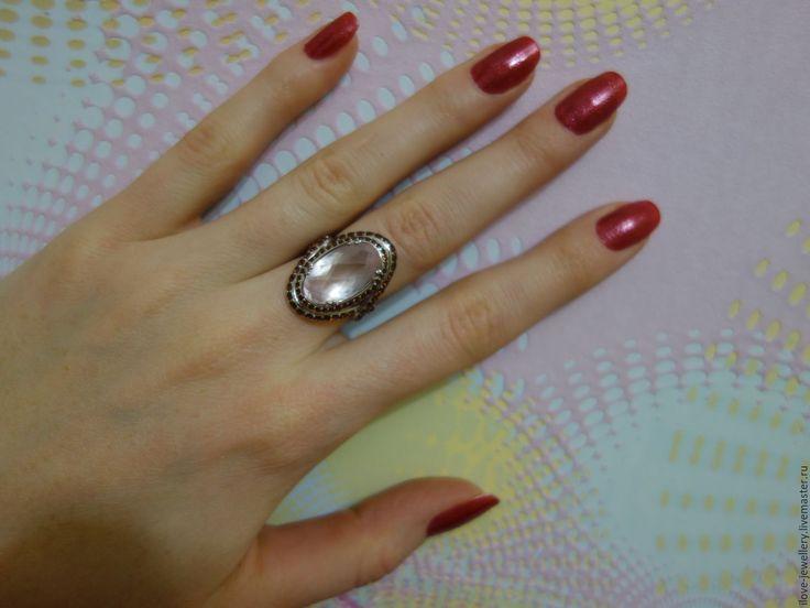 """Купить """"Risetti""""-шикарное кольцо с розовым кварцем и гранатами - бледно-розовый, кольцо с розовым кварцем"""