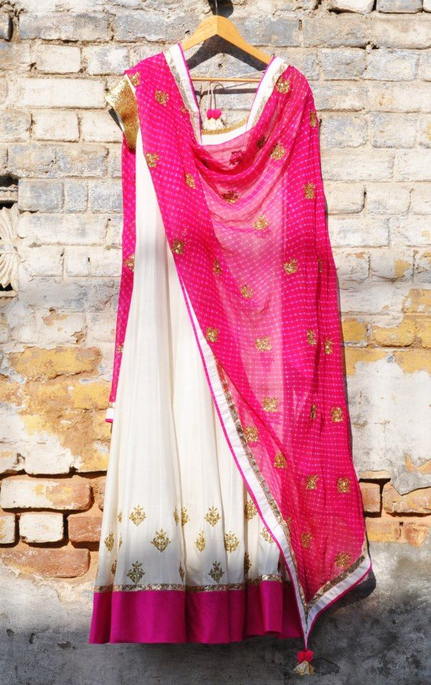 Ivory cotton silk kalidar embroidered kurta set with a bright pink leheriya embdroidered dupatta