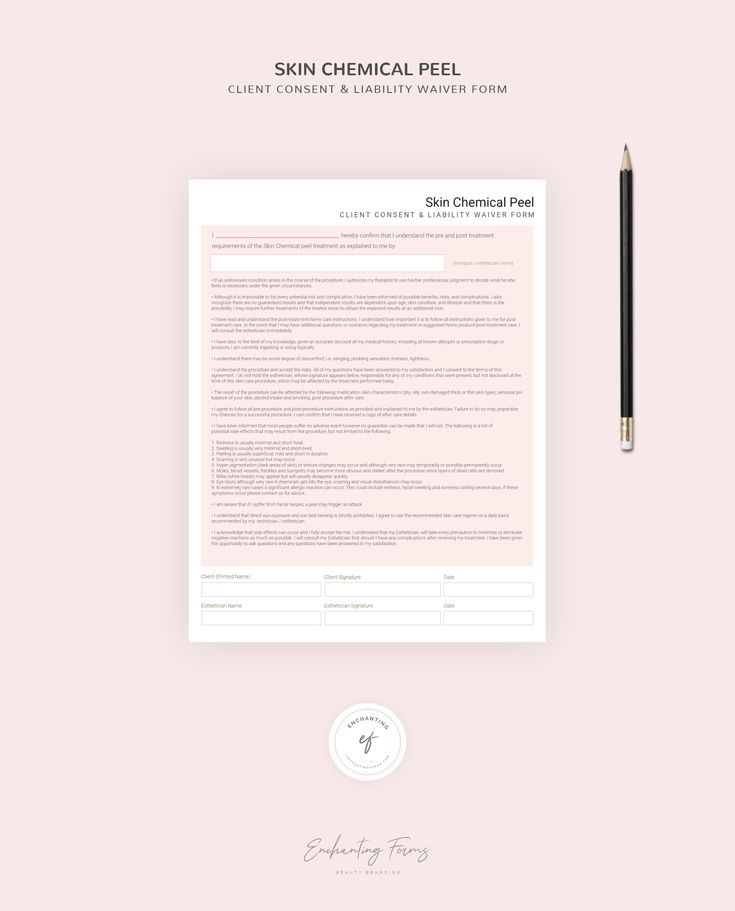 Chemical peel consultation forms skincare consent forms