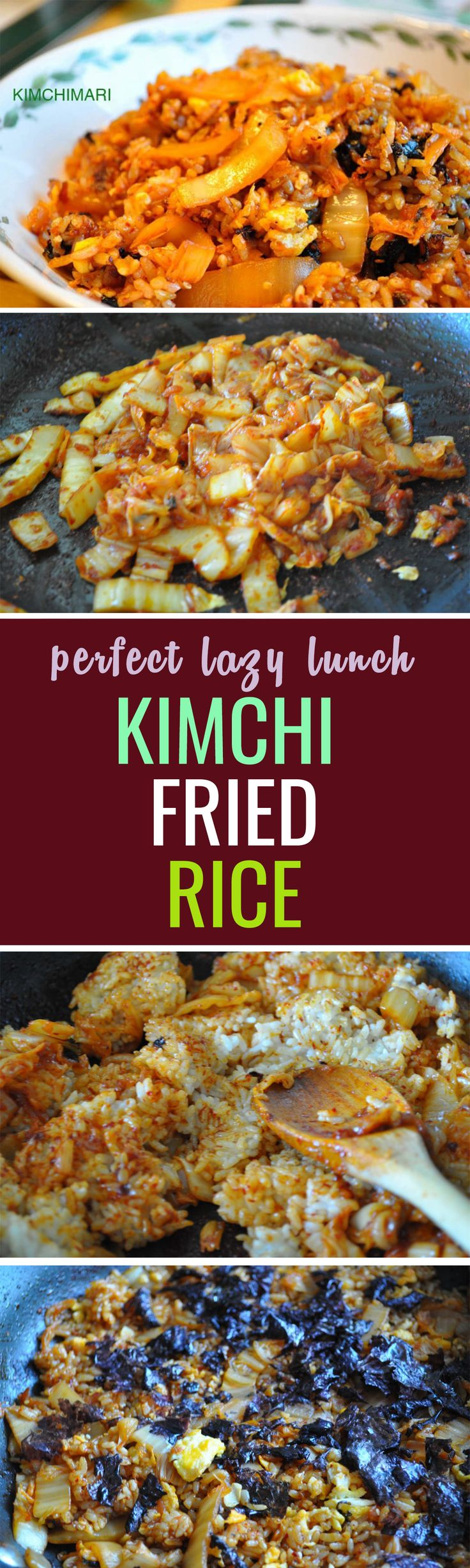 Quick, one pan kimchi fried rice will surely bring happiness to your tummy!
