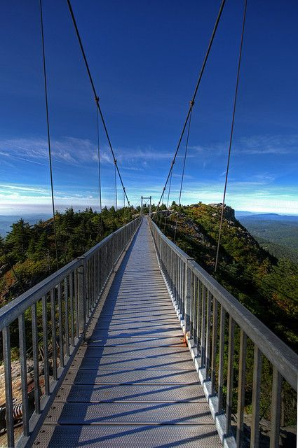Mile High Swinging Bridge, Grandfather Mountain, NC...the day we went it was too foggy and they had the bridge closed.  :(  I HAVE to go back.
