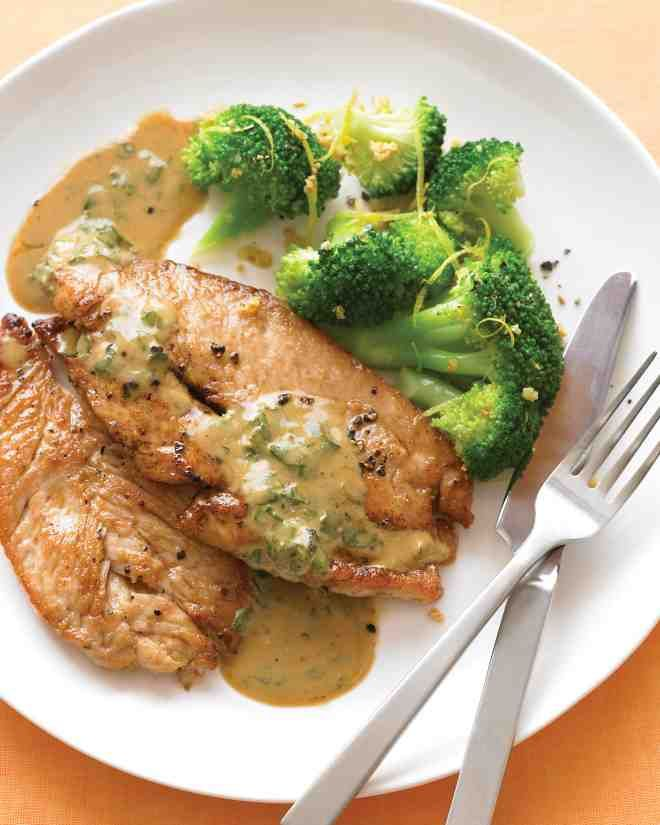 Pan seared turkey cutlets with wine sauce recipe