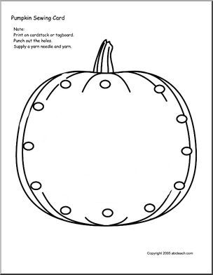 Sewing Card: Pumpkin - Cute sewing card for little hands. Print on tagboard and laminate for longer use.
