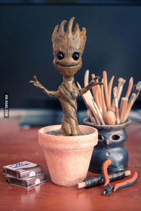 I made a baby Groot figure to my best friend for her b-day