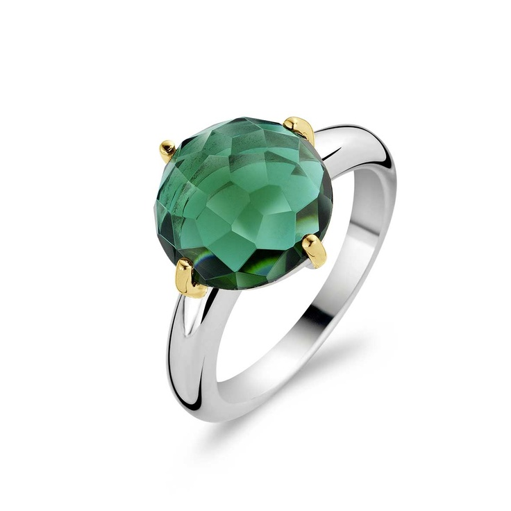Ti Sento Sterling Silver Two-Tone Forrest Green Fashion Ring