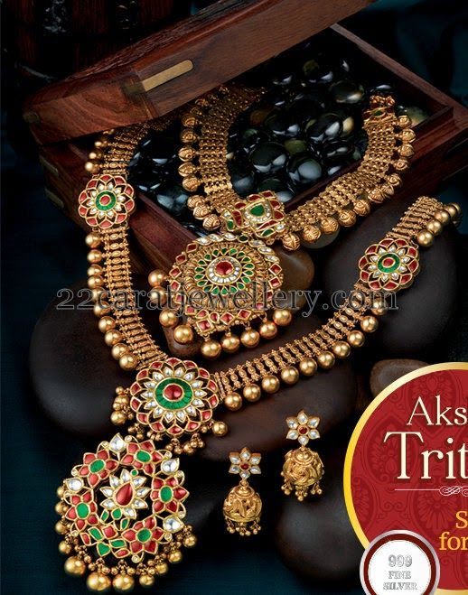 Jewellery Designs: Colorful Kundan Necklaces