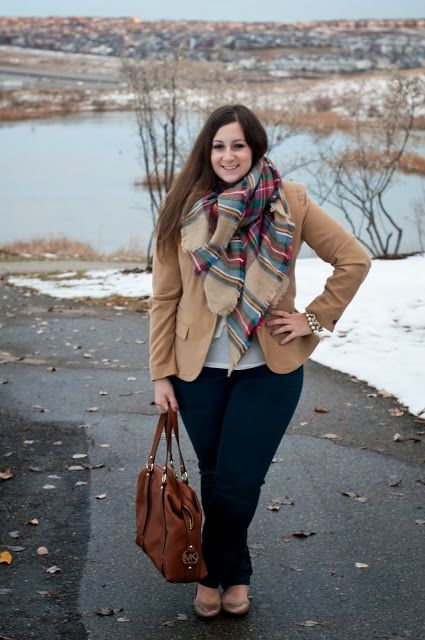 """Zara blanket scarf, blazer,  fall outfit Jeans, Boots, <3  """"if you like my curvy girl's fall/winter closet, make sure to check out my curvy girl's spring/summer closet.""""   http://pinterest.com/blessedmommyd/curvy-girls-springsummer-closet/pins/"""
