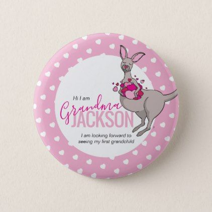 Baby shower kangaroo pouch of pink hearts intro button - personalize gift idea special custom diy or cyo