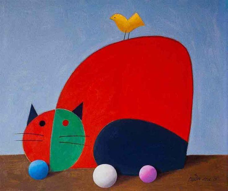 Gato vermelho e azul com pássaro amarelo nas costas