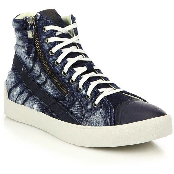 Diesel Denim & Leather High-Top Sneakers : Diesel Shoes (1,435 EGP) ❤ liked on Polyvore featuring men's fashion, men's shoes, men's sneakers, apparel & accessories, navy, mens black leather high top sneakers, mens denim shoes, mens lace up shoes, mens leather lace up shoes and mens high top sneakers