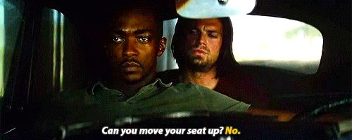 """Can you move your seat up?"" ""No"" - Captain America : Civil War - Bucky and Sam/ Falcon tumblr_o6y0umXJZE1qire1qo1_500.gif (500×200)"