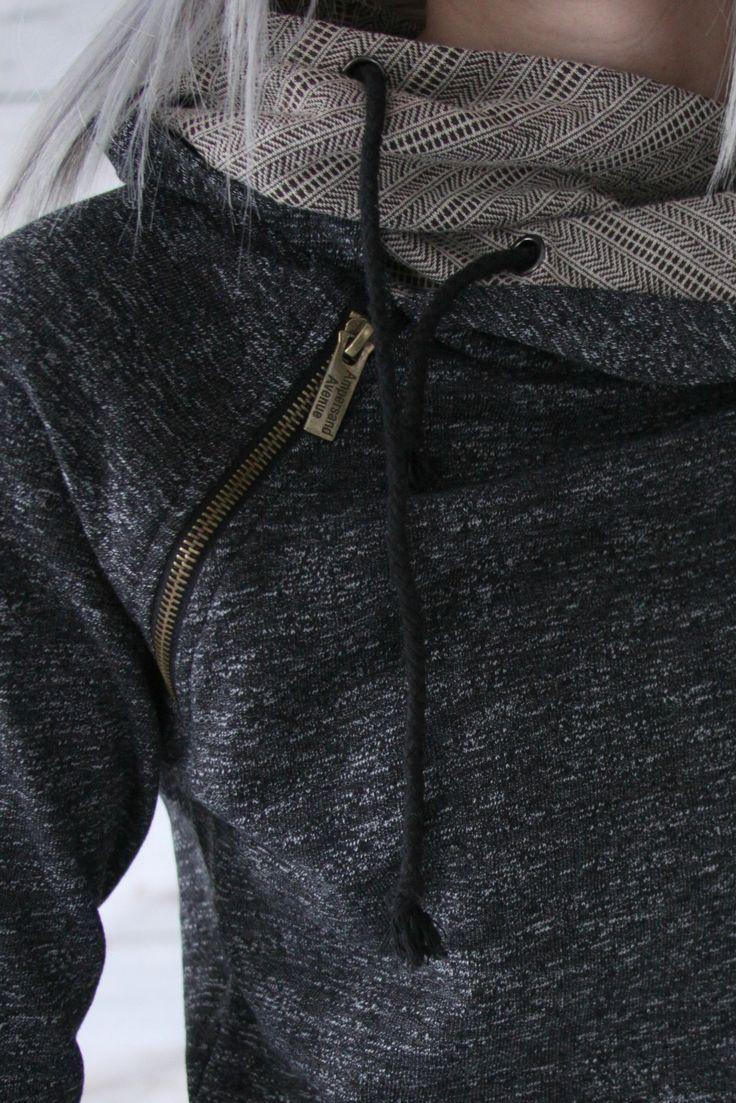 Double Hooded Sweatshirt - Charcoal & Aztec