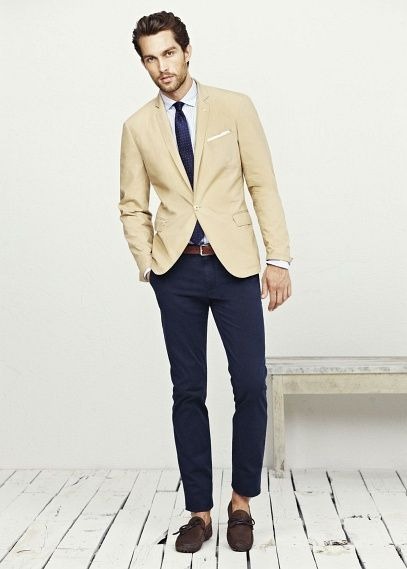 Khaki blazer. Navy trousers. Navy tie. White button down ...