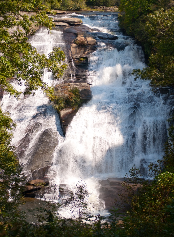 High Falls in late summer, in 11,753-acre DuPont State Recreational Forest, NC ... the park in NC where some of the Hunger Games and Last of the Mohicans was filmed.