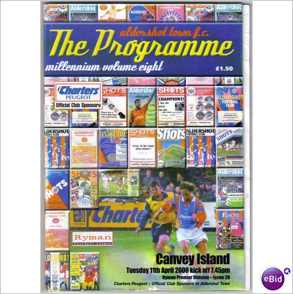 Aldershot Town v Canvey Island 11.04.2000 Non League Football Programme Sale