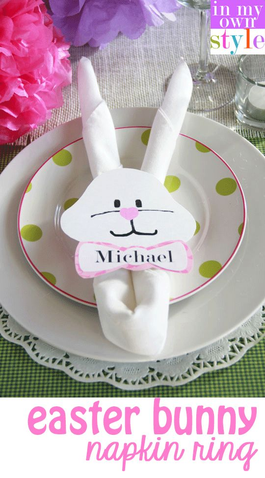 Easter Bunny Napkin Ring. Step by step photo tutorial.  Free Printable to download.  #Easter #freeprintable