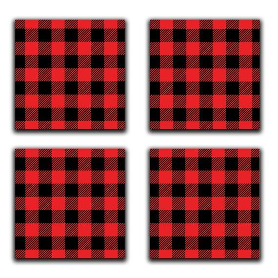 Buffalo Plaid Coasters Place Mats Wine Charms Choose Etsy Placemats Ceramic Tile Coaster Wine Glass Charms