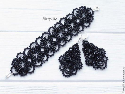 черные серьги длинные, длинные серьги черные, черные серьги фриволите, черные серьги легкие, черные длинные серьги, черные серьги выпускной, черные серьги торжество, красивые черные серьги